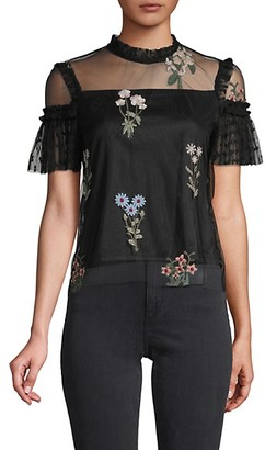 Lea & Viola Embroidered Floral Lace Top