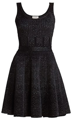 Alexander McQueen Raffia Inset Fit-&-Flare Dress