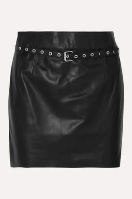 Blouse BLOUSE - Belted Leather Mini Skirt - Black