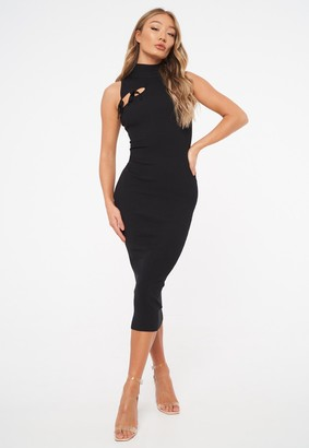 Missguided Black Tie Front High Neck Midaxi Dress