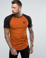 SikSilk Muscle T-Shirt In Rust With Raglan Sleeves