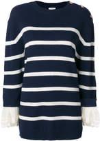 Manoush striped lace-cuff jumper