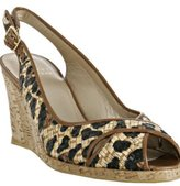 leopard printed straw 'Pipesling' wedges