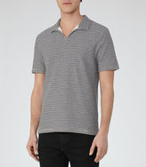 Reiss Reiss Bocca - Open Neck Polo Shirt In Blue