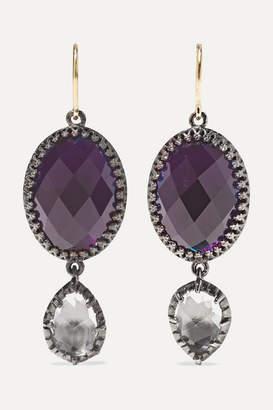 Larkspur & Hawk Sadie Rhodium-dipped, Amethyst And Quartz Earrings - Silver