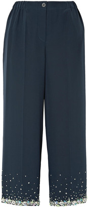 Miu Miu Cropped Embellished Silk Crepe De Chine Wide-leg Pants