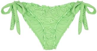 Frankie's Bikinis Colby green eyelet-embroidered bikini briefs