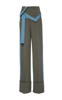 Diane von Furstenberg Wide Leg Foldover Khaki Pants