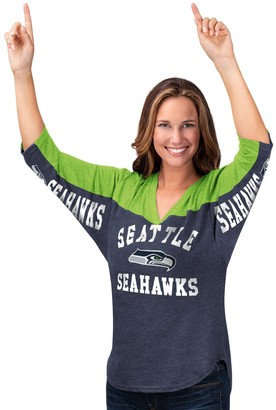 Women's Hands High College Navy/Neon Green Seattle Seahawks In the Zone 3/4-Sleeve V-Neck T-Shirt