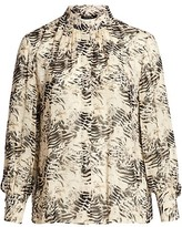 Thumbnail for your product : Lafayette 148 New York, Plus Size Mattea Printed Stand Collar Blouse