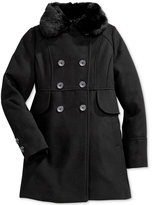 Jessica Simpson Girls' Double-Breasted Coat with Faux-Fur Collar