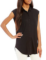 Eileen Fisher Classic Collar Sleeveless Shirt