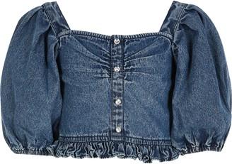 River Island Girls Blue denim puff sleeve cropped top