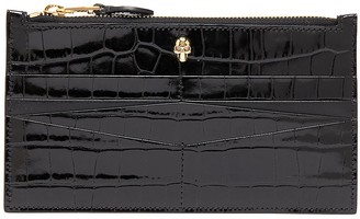 Alexander McQueen Skull embellished croc embossed patent leather wallet