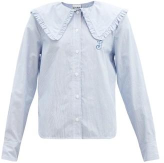 Ganni Peter-pan Collar Striped Cotton Blouse - Blue White