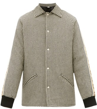 Gucci GG-striped Houndstooth Overcoat - Mens - Grey