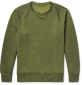 Our Legacy Reversible Overdyed Fleece-back Cotton-jersey Sweatshirt - Leaf green