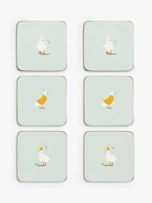 John Lewis & Partners Cork-Backed Ducks Coasters, Set of 6, Multi