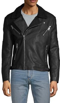 Eleven Paris Faux Fur-Collar Full-Zip Moto Jacket