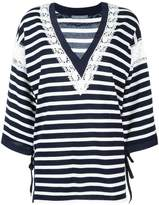 Alberta Ferretti striped v-neck jumper
