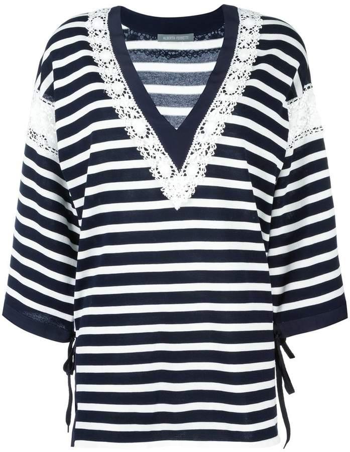 Alberta Ferretti striped v-neck jumper