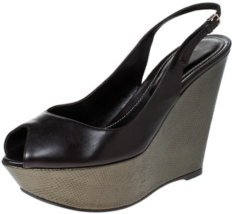 Sergio Rossi Black Leather Slingback Wedge Platform Sandals Size 37.5