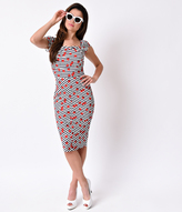Stop Staring 1940s Navy & White Stripe Cherry Justine Wiggle Dress