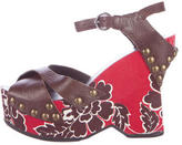 Miu Miu Leather Floral Wedges