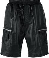 Les Hommes leather cargo shorts - men - Lamb Skin/Viscose - 46