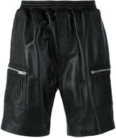 Les Hommes leather cargo shorts