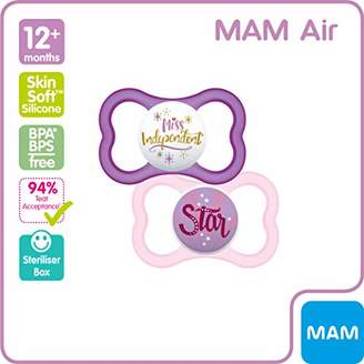Mam Original Soothers 12+ Months, Stylish Baby Soothers with Self Sterilising Travel Case, Soothing Baby Essentials, Blue (Designs May Vary), Pack of 2
