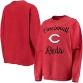 G Iii Women's G-III 4Her by Carl Banks Red Cincinnati Reds Script Comfy Cord Pullover Sweatshirt