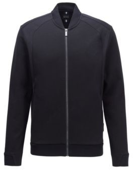 HUGO BOSS Zip Through Sweatshirt In A Cotton Blend - Black
