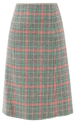 Prada Prince-of-wales Checked Wool-blend Skirt - Multi