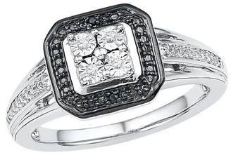 Women's Black & White Diamond Accent Prong/Miracle Set Fashion Ring in Sterling Silver (Size 6)