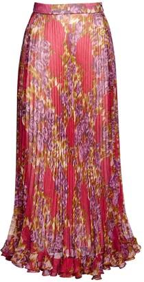 Luisa Beccaria Floral Pleated Silk Chiffon Midi Skirt