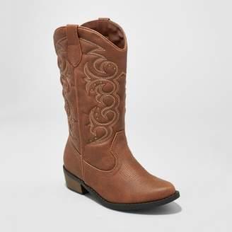 Cat & Jack Girls' Meadow Western Boot Brown