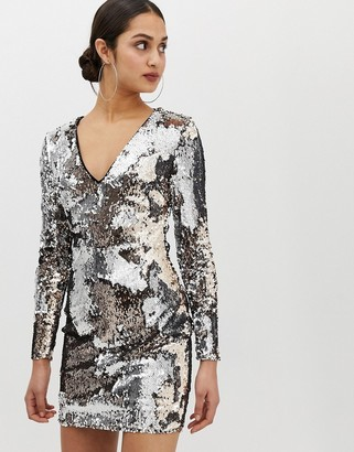 Parisian all over sequin v-neck dress