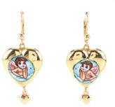 MERU GIOIELLI 18KT Yellow Gold Hand Painted Enamel Angel Heart Dangle Earrings