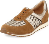 Sesto Meucci Casia Woven Leather Sneaker, Beige