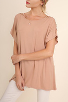 Umgee USA Cutout Sleeves Tunic Top
