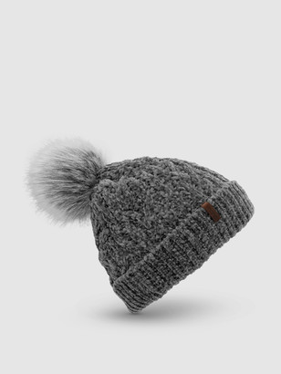 Pudus Chenille Knit Beanie Hat   Grey