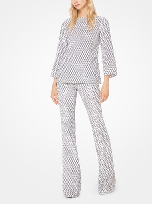 Michael Kors Geometric Sequined Stretch-Tulle Flared Pants