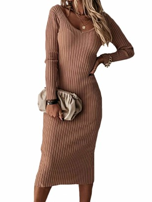 Huang Womens Knitted Ribbed V Neck Midi Dress Ladies Jumper Kintwear Backless Bodycon Stretch Sweater Dresses M Camel