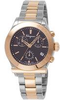 Salvatore Ferragamo 40.5mm 1898 Men's Two-Tone Chronograph Bracelet Watch, Silver/Gold/Black