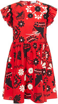 Thumbnail for your product : RED Valentino Ruffle-trimmed Gathered Printed Cotton-poplin Mini Dress