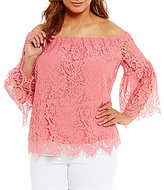 Jessica Simpson Plus Delani Off-the-Shoulder Lace Top