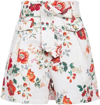 Maje Belted Floral-print Denim Shorts