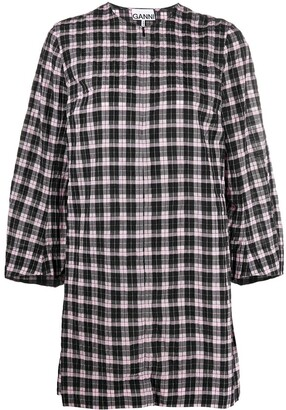 Ganni Check Puff Sleeve Mini Dress