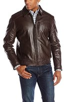 Andrew Marc Men's Serge Shirt-Collar Leather Bomber Jacket